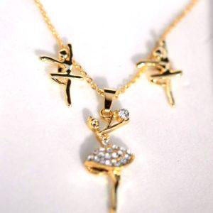 Superbe parure dorée comprenant Un collier de danseuse et 2 boucles d'oreilles .