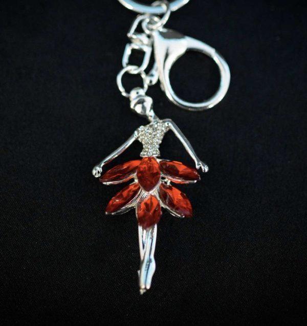 Porte cle danseuse Argenté et strass rouge